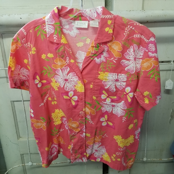 Womens Vintage 80s  90s Womens Front Pocket Button Up Floral Abstract Top  Blouse  Summer Top